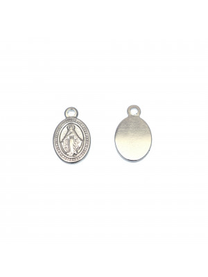 Ciondolo, in Acciaio, a forma di medaglia ovale, con disegno di Madonna, 9x15 mm.
