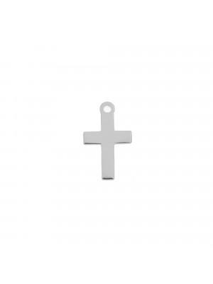 Ciondolo, in Acciaio, a forma di croce, liscia, 8x13 mm.