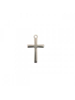 Ciondolo, in Acciaio, a forma di Croce sottile, 7x15 mm.