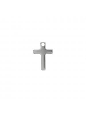 Ciondolo, in Acciaio, a forma di croce, 16x11 mm.