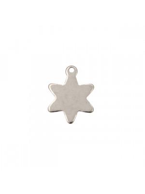 Ciondolo, in Acciaio, a forma di Stella liscia a sei punte, 14x18 mm.
