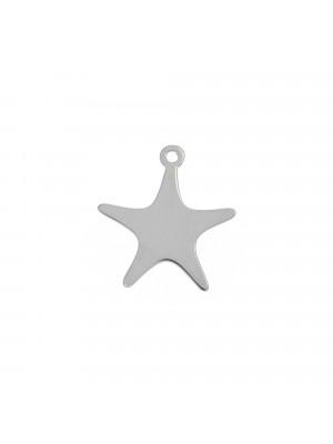 Ciondolo, in Acciaio, a forma di stella marina, liscio, 14x15 mm.