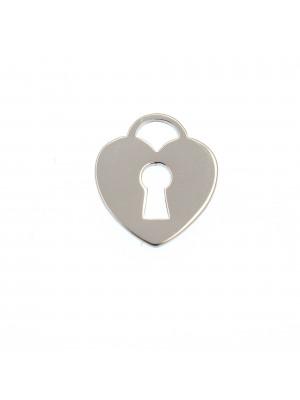 Ciondolo, in Acciaio, a forma di cuore con lucchetto, liscio, 12x13 mm.