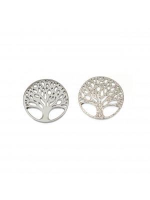 Ciondolo, in Acciaio, a forma di tondo, con albero della vita all'interno, diamantato su un lato, diametro 12 mm.