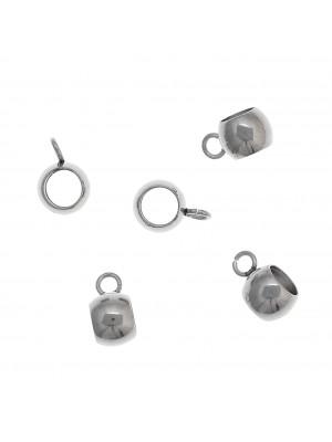 Distanziatore a forma di palla con anello, in Acciaio, largo 6mm., lungo 9mm.