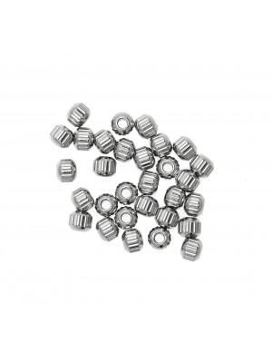 Distanziatore pallina schiacciata, rigata, in Acciaio, misura 3,3x3,9 mm.