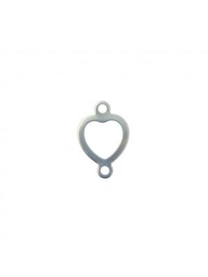 Elemento a doppio anello, in Acciaio, a cuore stilizzato, 11x17mm.