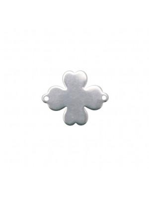 Elemento a doppio anello, in Acciaio, a forma di Quadrifoglio 20x24 mm.