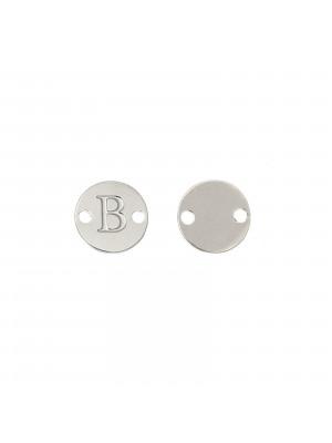 Elemento a doppio foro, in Acciaio, a forma di medaglia tonda con lettera B, 8 mm.