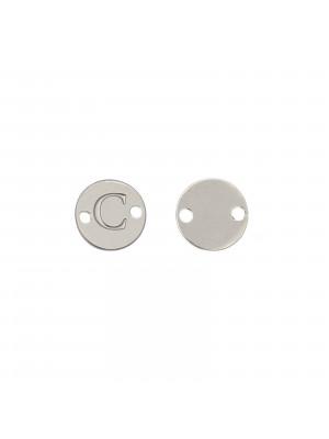 Elemento a doppio foro, in Acciaio, a forma di medaglia tonda con lettera C, 8 mm.