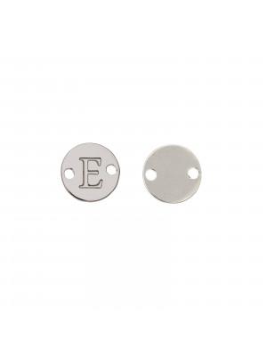 Elemento a doppio foro, in Acciaio, a forma di medaglia tonda con lettera E, 8 mm.