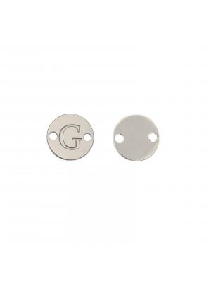 Elemento a doppio foro, in Acciaio, a forma di medaglia tonda con lettera G, 8 mm.