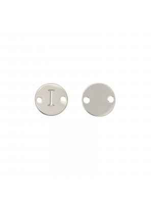 Elemento a doppio foro, in Acciaio, a forma di medaglia tonda con lettera I, 8 mm.