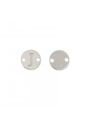 Elemento a doppio foro, in Acciaio, a forma di medaglia tonda con lettera J, 8 mm.