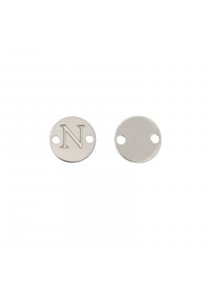Elemento a doppio foro, in Acciaio, a forma di medaglia tonda con lettera N, 8 mm.