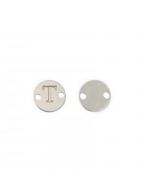 Elemento a doppio foro, in Acciaio, a forma di medaglia tonda con lettera T, 8 mm.