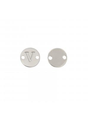 Elemento a doppio foro, in Acciaio, a forma di medaglia tonda con lettera V, 8 mm.