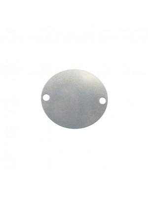 Elemento a doppio foro, in Acciaio, a medaglia ovale 24x27 mm.