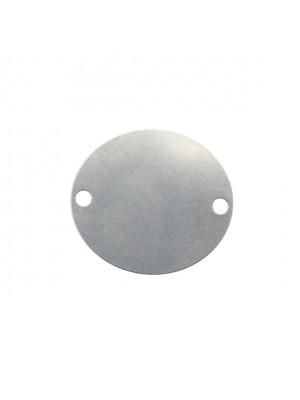 Elemento a doppio foro, in Acciaio, a medaglia ovale 35x40 mm.