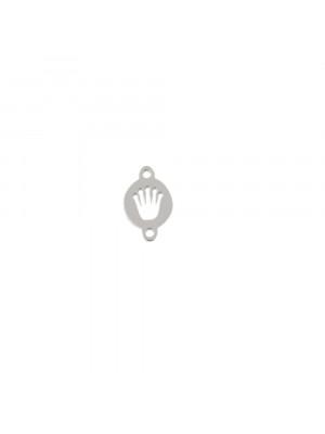 Elemento a doppio foro, in Acciaio, a forma di medaglia tonda con mano forata al centro, 5x8mm.
