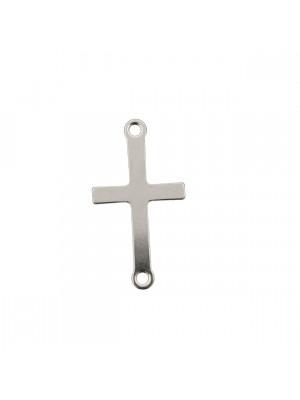Elemento a doppio anello, in Acciaio, a forma di croce piccola, piatta, liscia, larga 7 mm., alta 18 mm.