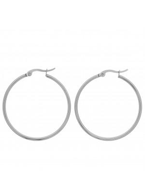 Cerchio per orecchino, in Acciaio, con chiusura a scatto, diametro 38 mm.
