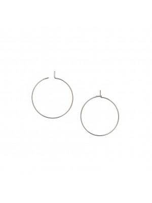 Cerchio per orecchino, liscio, con chiusura a gancio, in Acciaio, diametro 25 mm.