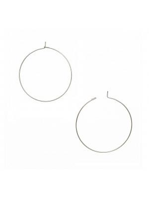 Cerchio per orecchino, liscio, con chiusura a gancio, in Acciaio, diametro 40 mm.