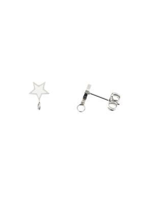 Perno a forma di stella, 7x10 mm., in Acciaio, base Argento Rodio, colore Bianco