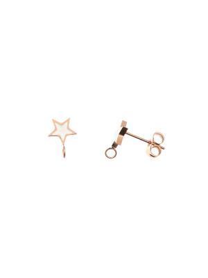 Perno a forma di stella, 7x10 mm., in Acciaio, base Oro Rosa, colore Bianco