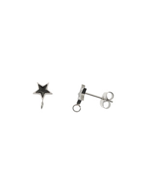 Perno a forma di stella, 7x10 mm., in Acciaio, base Argento Rodio, colore Nero