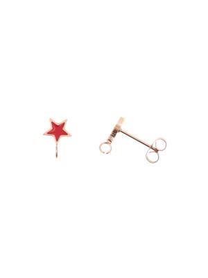 Perno a forma di stella, 7x10 mm., in Acciaio, base Oro Rosa, colore Rosso