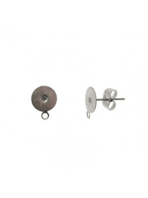 Perno tondo piatto da incollo, 8 mm., in Acciaio, con un anello