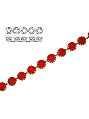 Catena strass francese, con cristalli non Swarovski, colore strass LIGHT SIAM SATINATO