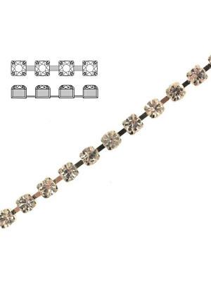 Catena strass, con cristalli Preciosa, base in metallo colore argentato rodio, colore strass CRYSTAL