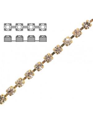 Catena strass, con cristalli Preciosa, base in metallo colore ottone, colore strass CRYSTAL