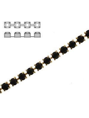 Catena strass, con cristalli Preciosa, base in metallo colore ottone, colore strass JET