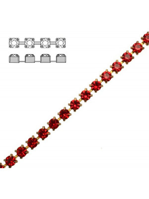 Catena strass, con cristalli Preciosa, base in metallo colore ottone, colore strass LIGHT SIAM