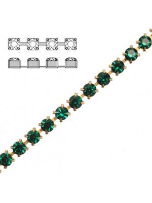 Catena strass, con cristalli Preciosa, base in metallo colore ottone, colore strass EMERALD