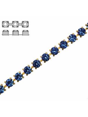 Catena strass, con cristalli Preciosa, base in metallo colore ottone, colore strass ZAFFIRO
