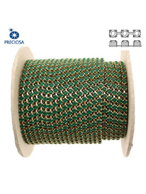 Catena strass, con cristalli Preciosa, base in metallo colore ottone, colore strass EMERALD MATT