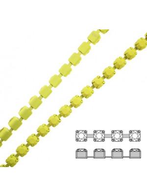 Catena strass, con cristalli non swarovski, colore strass e catena GIALLO FLUO EFFETTO GOMMOSO