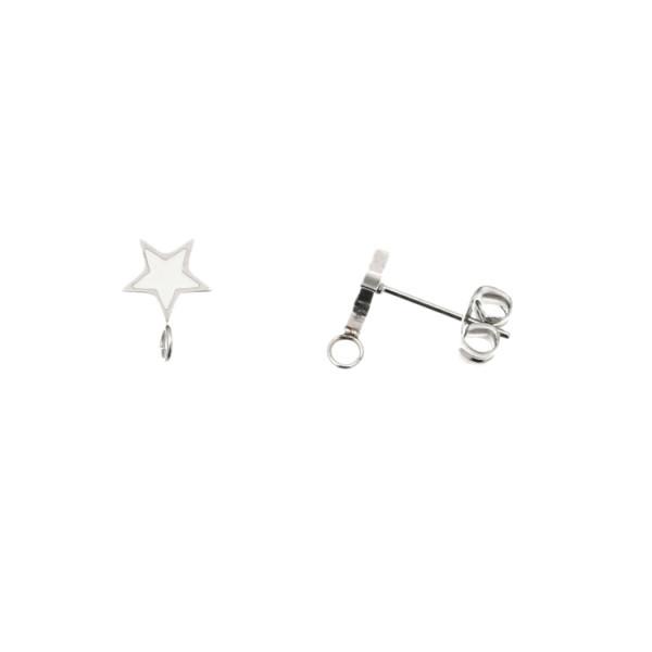 7c099cf0f17344 Perno a forma di stella, 7x10 mm., in Acciaio, base Argento Rodio, colore  Bianco